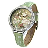 Handmade 3D Polymer Clay Crystals Ladies Wrist Watches for Women Girls Spring Flying Bird Green Relogio