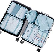 PROMUN Travel Packing Cubes, 6 Set Luggage Organizer with Laundry Bag, Compression Pouches, Waterproof, Rip Resistance…
