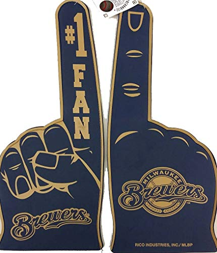 Rico Industries MLB Milwaukee Brewers MLB Flat Foam Fingers, Blue, 18