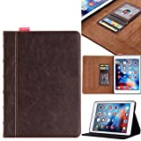 iPad Pro 12.9 Case, Moyooo Distressed Brown Leather Case Protective Cover with Card Slots, Note Holder, for Apple iPad Pro 12.9 Brown