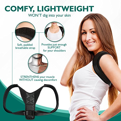 ORGANIZZO Back Posture Corrector- Adjustable Clavicle Support Brace for Women and Men- Unisex Posture Trainer to Improve Bad Posture, Slouching, Back pain, Thoracic Kyphosis, Shoulder Alignment by organizzo