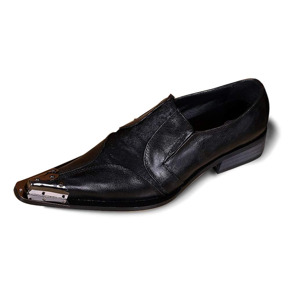 Rui Landed Oxford para Hombre zapatos Formales Estilo Deslizante Premium Piel Genuina Piel de Metal Punta Estrecha Low Top Color sólido Pisos Bloque talón Discoteca (Color   negro, tamaño   38 EU) negro