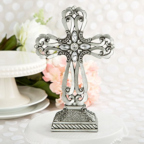 Large 9 Inch Pewter Cross Baptism and First Communion Centerpiece and Cake Topper by Fashioncraft (First Communion Centerpieces)