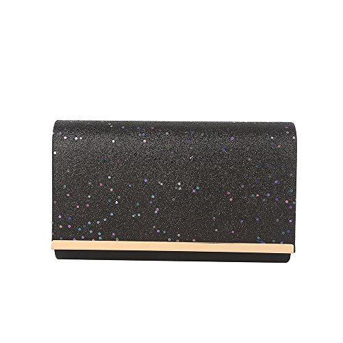 GLITTER EVENING CLUTCH Black BRIDAL PARTY LADIES SHIMMER WOMENS BAG ENVELOPE PROM Hotstylezone nqHfYztxwP