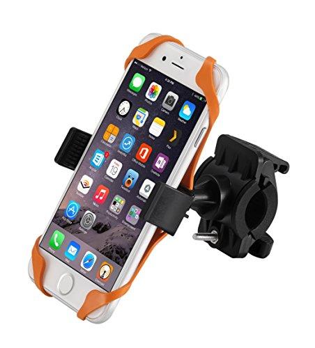Fahrrad-Telefon-Halter, icefox® Universal Docking-Station Fahrrad-Halterung für iPhone, Android Smartphones, GPS und andere kompatible Geräte, rutschfeste Clamp, 360 Grad rotierbar, Gummibügel mit zwei Bandgriffe (Orange)
