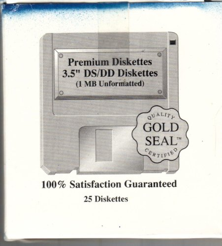3.5'' DS / DD Unformatted Premium diskettes 25 disk pack by Gold Seal