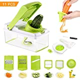 Mandoline Slicer Include Spiralizer Vegetable Slicer Cutter Dicer Julienne Peeler Cleaning Tool Duty Multi Vegetable-Fruit-Cheese-Onion Chopper-Lemon Squeezer-Food Choppers and Dicers