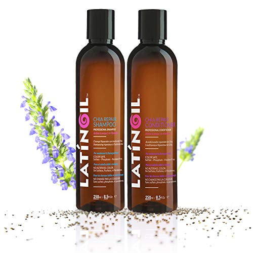 LATINOIL Chia Seeds Hair Repair Shampoo And Conditioner Sulfate & Paraben Free - Very Rich Natural Treatment Product, Thicken the Hair, Safe for Color Treated, Curly, Textured Hair, 8 Oz