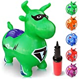 WALIKI TOYS Bouncy Horse Hopper, Pump Included (Benny the Jumping Bull Inflatable Hopping Animal, Riding Horse for Kids, Hoppy Horse, Ride-on Hopper Horse, Lime Green, for Toddlers)