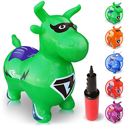 WALIKI TOYS Bouncy Horse Hopper, Pump Included (Benny the Jumping Bull Inflatable Hopping Animal, Riding Horse for Kids, Hoppy Horse, Ride-on Hopper Horse, Lime Green, for Toddlers) ()