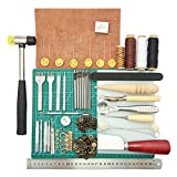 ELEOPTION Leather Stitching Tools 44pcs Leather Craft Hand Tools Kit with Stitching Groover, Prong Punch, Wooden Awl for DIY Leather Artwork Repair Lockstitch Set
