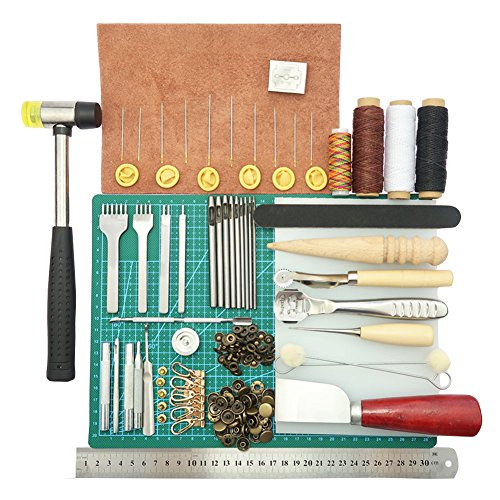ELEOPTION Leather Stitching Tools 44pcs Leather Craft Hand Tools Kit with Stitching Groover, Prong Punch, Wooden Awl for DIY Leather Artwork Repair Lockstitch Set by Eleoption