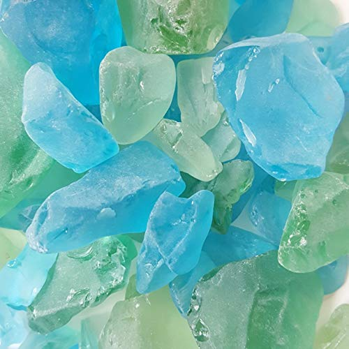 WeJe Glass Gems Sea Glass Chunks for Home Decor Art Craft Vase Filler Aquarium Gravel (48oz (3LBS), Sea Glass Chunks - Mixed Green & Turquoise)