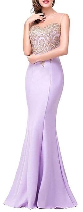 18cb9fe29 SHUNLIU Vestidos de Fiesta Largos Vestido Encaje de Mujer Elegantes de Noche  Detrás de Perspectiva Hueco  Amazon.es  Ropa y accesorios