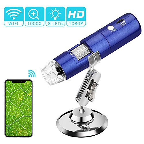 (Wireless Digital Microscope, ROTEK 50x to 1000x Microscope Magnification with HD 1080P 2MP Camera, Mini Pocket Handheld Microscope Camera with Light Compatible for iPhone Android, iPad Windows MAC)