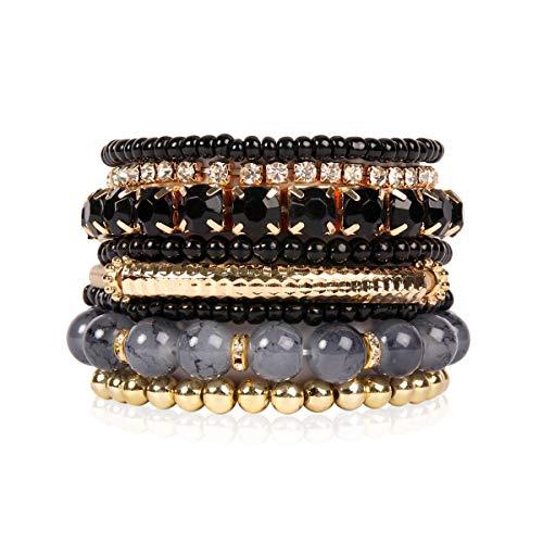 RIAH FASHION Multi Color Stretch Beaded Stackable Bracelets - Layering Bead Strand Statement Bangles (Original - Black, ()