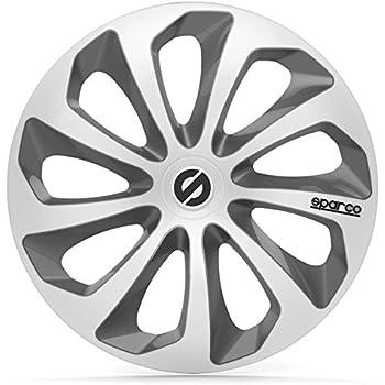 Sparco SPC1573SVGR Sicilia Wheel Covers, Silver/Grey, Set of 4, 15