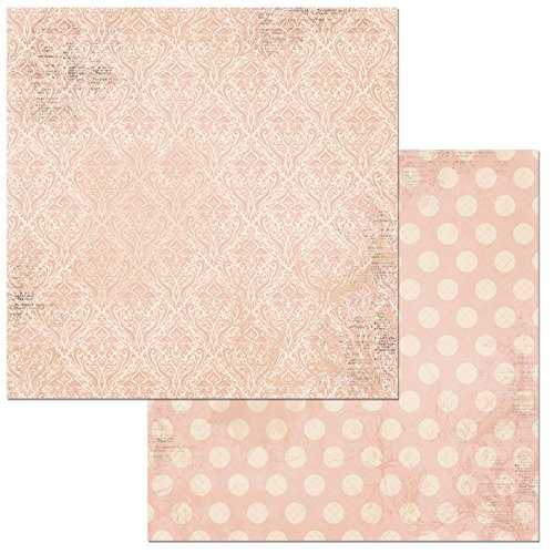 Bo Bunny Dusty Rose Double Dot Damask Scrapbooking Paper, 12