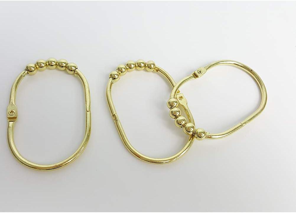 Set di 12 anelli per tenda da doccia antiruggine in acciaio inox larghi ganci per tenda da doccia colore oro