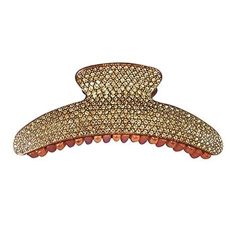 Twinkle - Deluxe Butterfly Rhinestone Jaw Hair Clip - Long Arch (Brown) (Cheap Butterfly Stuff)