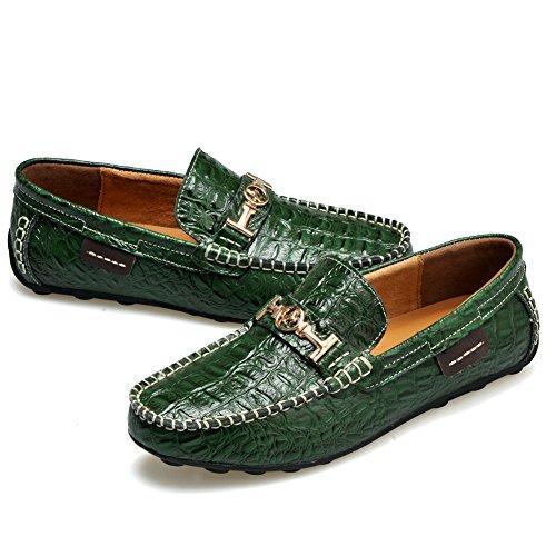 Rismart Mens Stylish Crocodile Print Leather Driving Shoes ...