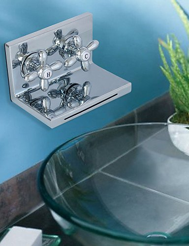 - Royal-Contemporary Chrome Finish Two Ellipse Handle Waterfall Bathroom Sink Faucet