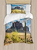 Ambesonne Saguaro Duvet Cover Set Twin Size, Famous Canyon Cliff with Dramatic Cloudy Sky Southwest Terrain Place Nature, Decorative 2 Piece Bedding Set with 1 Pillow Sham, Brown Green Blue