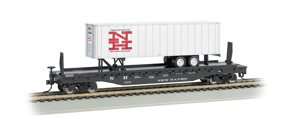 Bachmann Industries 52' 6'' Flat Car with 35' Piggyback Trailer - New Haven (HO Scale) by Bachmann Trains (Image #1)