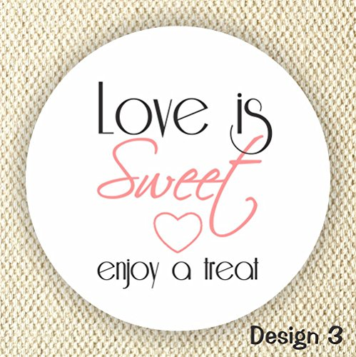 Love is Sweet Enjoy a Treat - Thank You Stickers - Wedding Stickers - Anniversary Stickers - Favor Stickers - Love is Sweet Labels - Set of 100 Labels -