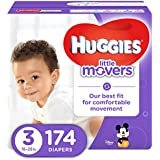 HUGGIES LITTLE MOVERS Active Baby Diapers, Size 3 (fits 16-28 lb.), 174 Ct, ECONOMY PLUS (Packaging May Vary)