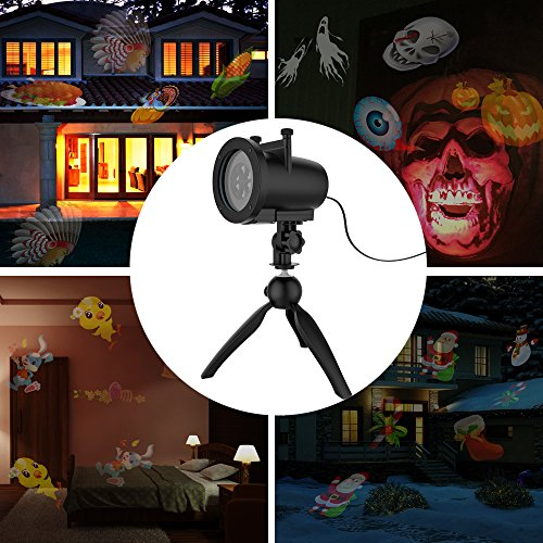 Christmas LED Projector Light Waterproof Outdoor Garden Landscape, 32ft Power Cable, 10W Motion Lamp Projector with Remote Control (20 Slides) ()