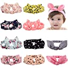 Toptim Baby Headbands Turban Knotted, Girl's Hairbands for Newborn,Toddler and Childrens (Bunny Ears 10 Pack)