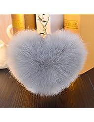 Quality Wool Heart-shaped Ball Key Chains Car Key Ring Bag Jeans Pendant White