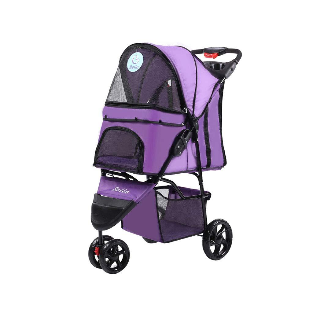 A KKCDDog Strollers Pet Stroller Folding FourWheeled Dogs Cats Cart Lightweight Seat Belt Handbrake Travel System Bearing 15KG Pet Car Cat Stroller (color   H)