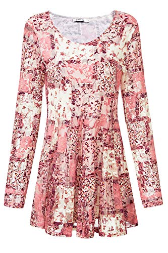 Women's Plus Size Lace Floral Tunic Tops Loose Fit Flare Hem T-Shirt Blouses (Large, Pink) ()