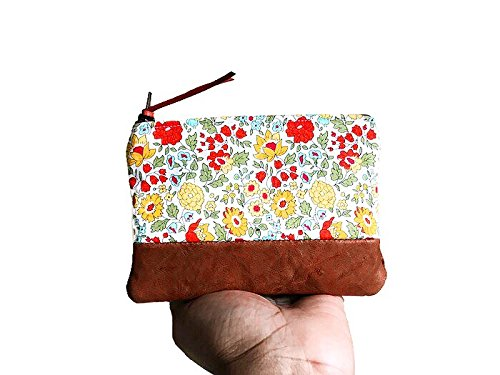(Daylily Floral Brown Leather Coin Purse, Coin Pouch, Small Coin Purse, Change Purse)