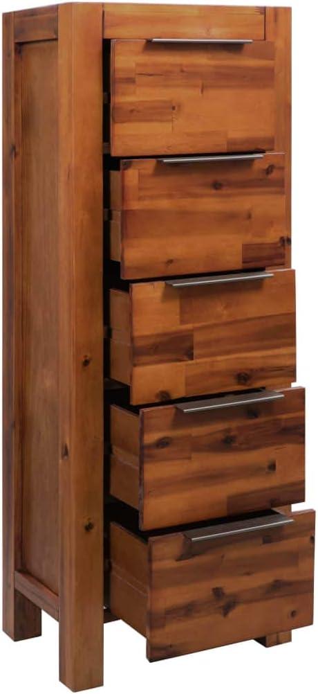 Festnight Mueble de Cajones con 5 Cajones Madera Acacia Maciza 45 x 32 x 115 cm: Amazon.es: Hogar