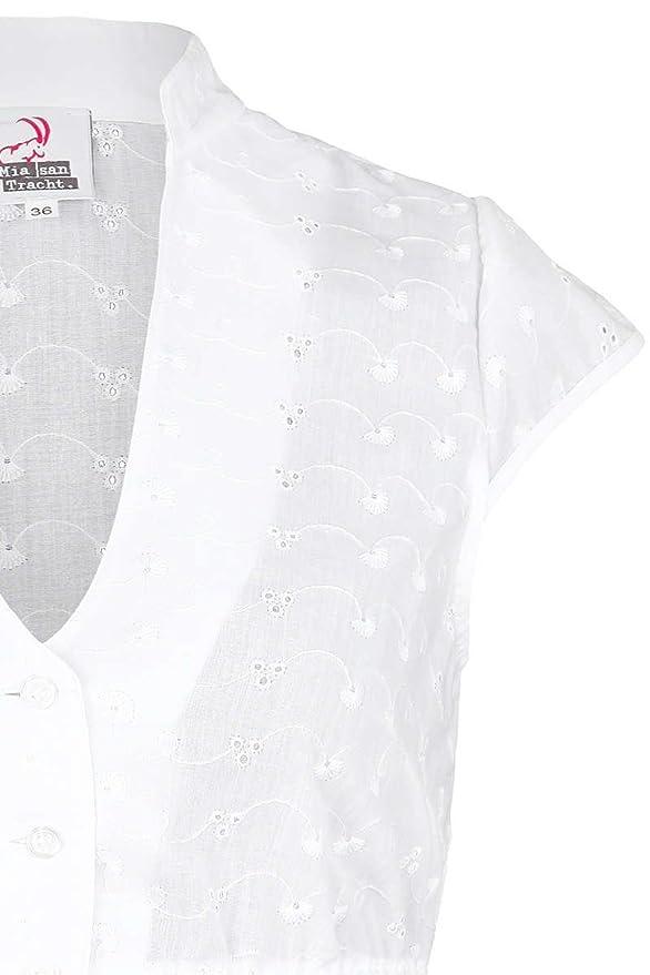 Mia san Tracht. Damen Dirndl Bluse V-Ausschnitt mit Flügelärmel weiß, 1000- WEIß,  Amazon.de  Bekleidung a064ac8d13