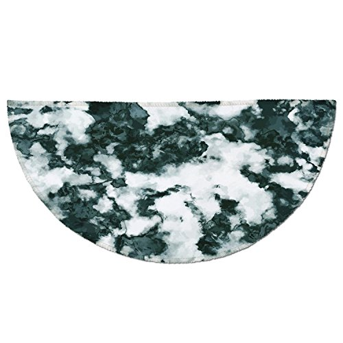 Round Top Marble Stone (Half Round Door Mat Entrance Rug Floor Mats,Marble,Abstract Stone Facet Artistic Blurry Layered Shades Textured Image Decorative,Forest Green Pearl White,Garage Entry Carpet Decor for House Patio Gras)