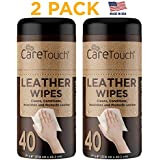Care Touch Leather Wipes for One-Step Cleaning, Conditioning, and Protecting - Pack of 2, 40 Wipes Each