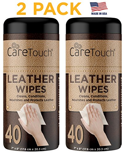Care Touch Leather Cleaner Wipes for One-Step Cleaning, Conditioning, and Protecting - Pack of 2, 40 Wipes Each for Cars, Shoes and Other Leather (Color Protect Leave)