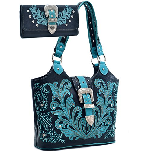 Western Rhinestone Buckle Embroidered Purse Wallet Set - Turquoise/Black ()