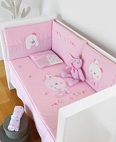 pirulos–Bettbezug + Displayschutzfolie + Kissen Les Amis cuna70 Rosa
