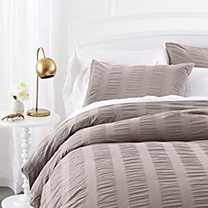 Pinzon Seersucker Duvet Cover Set - Full/Queen, Dove Grey