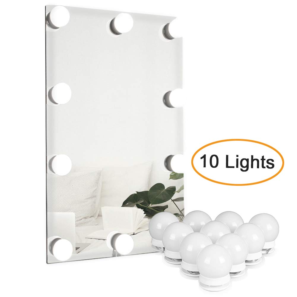 Waneway Vanity Lights for Mirror, DIY Hollywood Lighted Makeup Vanity Mirror with Dimmable Lights, Stick on LED Mirror Light Kit for Vanity Set, Plug in Makeup Light for Bathroom Wall Mirror, 10-Bulb by Waneway