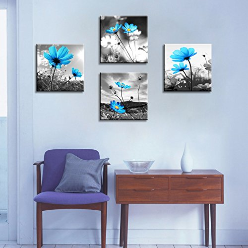 Hlj arts modern salon theme black and white peacock blue for Best home decor from amazon