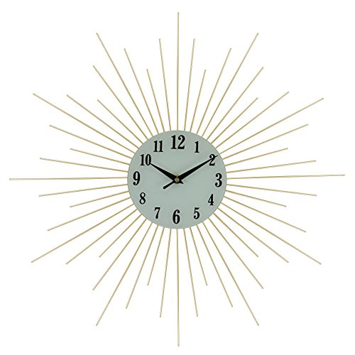 IMPORTED GIFT DEPOT Elegant Bejeweled Gold Spikes Round Wall Clock with Crystal Accents 20