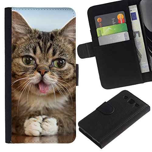 OMEGA Case / Samsung Galaxy S3 III I9300 / american shorthair mongrel tongue cat / Cuero PU Delgado caso Billetera cubierta Shell Armor Funda Case Cover Wallet Credit Card