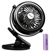 OPOLAR Battery Operated Clip-on Fan, Rechargeable Personal Fan with 3 Settings, 360 Degree Rotation Stroller Fan for a Vehicle, Baby, Car Seat, Gym, Travel, Treadmill