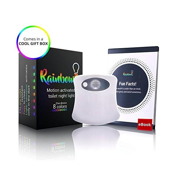 RainBowl Motion Sensor Toilet Night Light Funny Unique Birthday Gift Idea For Dad Mom Him Her Men Women Kids Cool New Fun Gadget